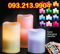 Bộ đèn nến trụ điện tử remote 12 màu